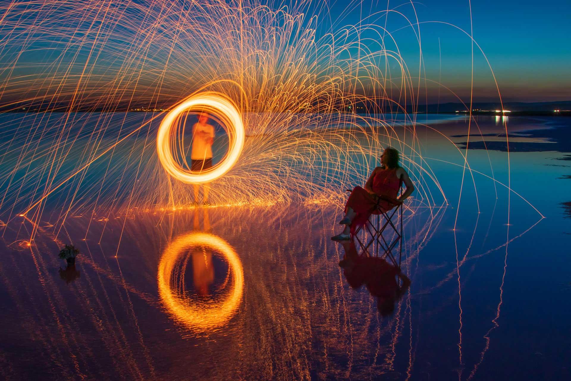 Tuz Gölü Fotoğrafları Tuz gölü resimleri mavi saatlerde steel wool çekimleri Çekergezer Hakan Aydın Fotoğrafları Tuz Gölü görselleri