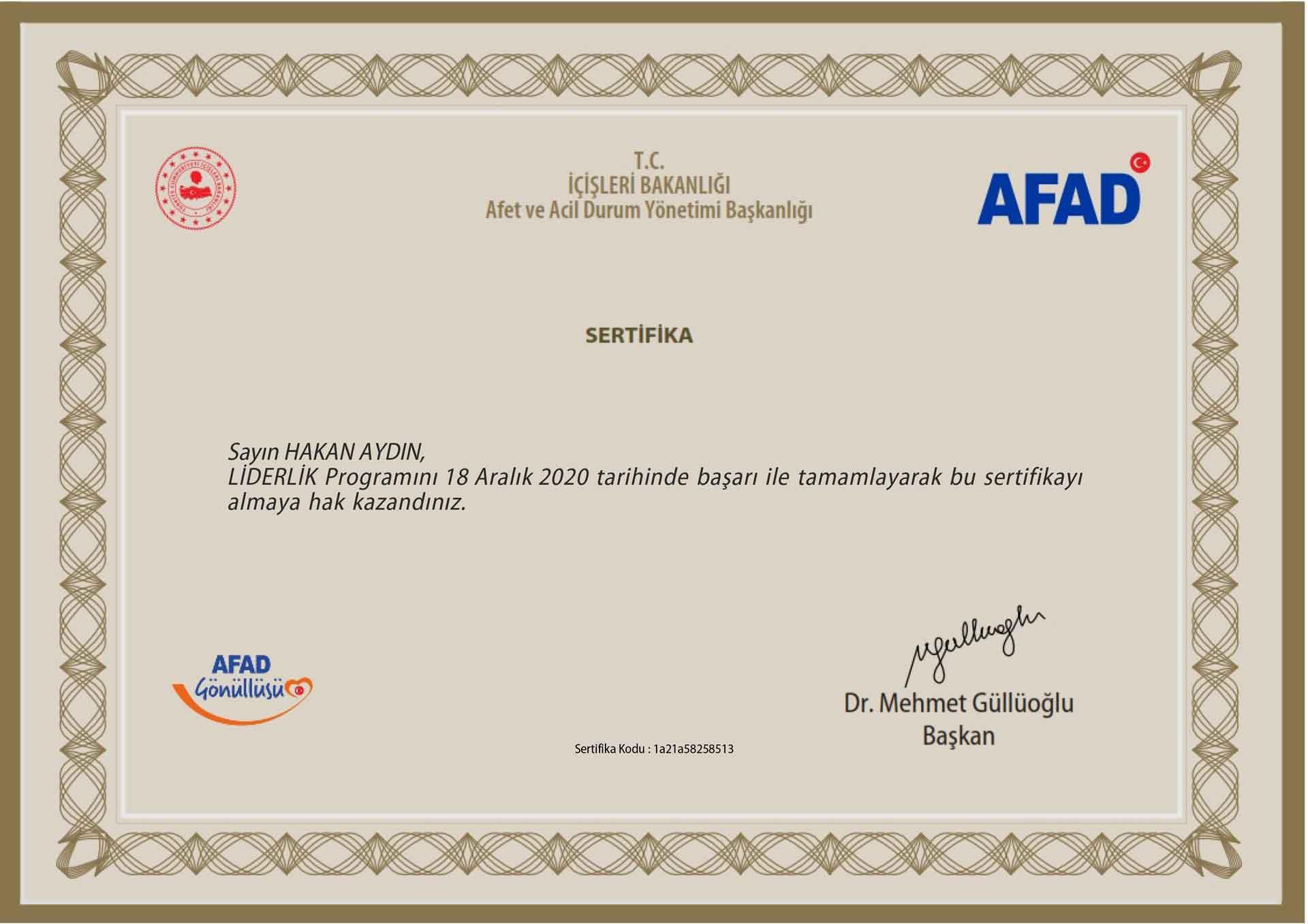 Hakan Aydın Kişisel Gelişim Sertifika AFAD Gönüllüsü Hakan Aydın Sertifikaları