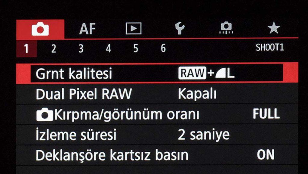 RAW Fotoğraf Çekme ayarı nasıl yapılır RAW + JPEG çekim ayarı